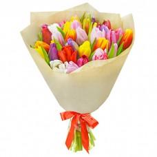 Букет Тюльпаны в крафте 35 шт